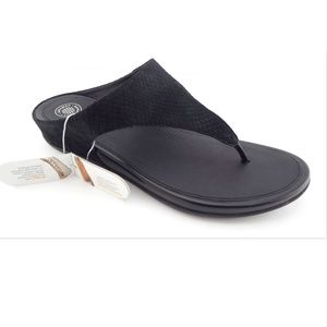 New FitFlop Black Leather Snake Thong Sandals 9